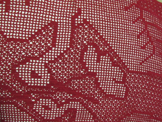 Cranes filet crochet detail